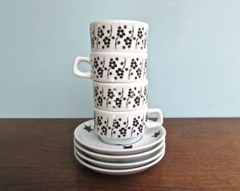 Notneutral Porcelain Set of 4 Stackable Coffee Mugs & Saucers from Poland, Mod MCM Design Perfect for Tiny House Living