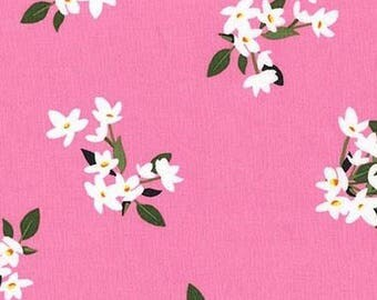 One (1) Yard - Lily-of-the-Valley White flowers print Michael Miller Fabrics  CX7144-ROSE-D  Pink
