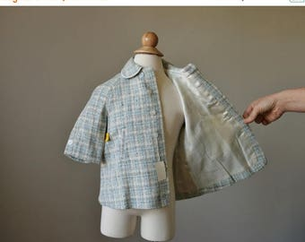 ON SALE NOS, 1960s Spring Plaid Coat & Cap~Size 12 to 24 Months