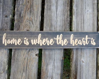 home is where the heart is sign,home is where,housewarming gift,home sign,the heart is,home decor,where the heart is,home,wood sign