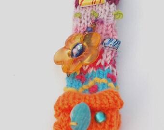 Crazy Colour Bag Charm . Multicoloured Key Ring . Boho Bag Charm . Funky . Art Knit . Crochet . Gift For Her . Unique Key Chain