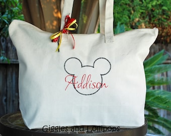 Large personalized disney Mickey Mouse canvas tote bag