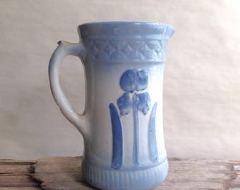 Antique Blue and White Stoneware Pitcher Iris Design Farmhouse Table Milk ir Water Server