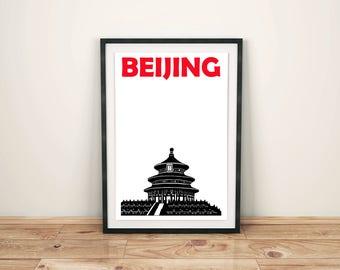 Beijing Print // Beijing Poster // China Art // Beijing Art // Chinese Print // Chinese Poster // Chinese Art // Chinese Gift / Beijing Gift