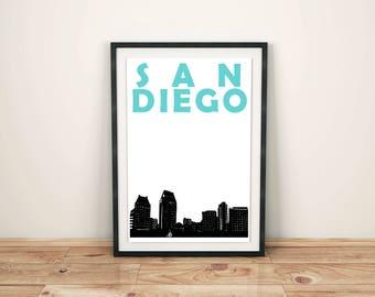 San Diego Print // California Print // California Art // San Diego Poster // San Diego Art // California Poster // San Diego Skyline