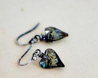 Summer Sale Crystal Earrings, Heart Crystal, Dangle Earrings, Heart Earrings, Steal Crystal, Wire Wrapped, Swarovski Crystal, Swarovski Earr