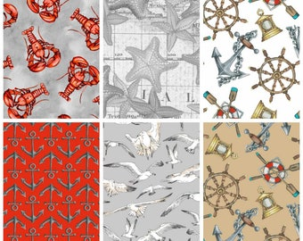 Beach Fabric Cotton Quilting High Tide Collection (1/2 yd  cuts~6 yds total) Quilting Sewing Crafting Fabrics Material Quilts