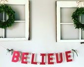 Christmas banner, Christmas garland, holiday decor, believe banner, mantel decoration, paper garland, photo prop, rustic christmas