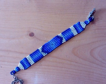 Shades of Blue Native American Style Hand woven seed bead Bracelet native hippie boho ethnic african gypsy medallions handmade barbswish