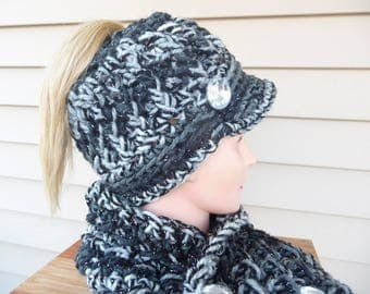 Messy Bun Ponytail Crochet Hat with Bill Ready to Ship