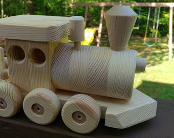 SALE 10 off!  New 4 Car Train Set Large Wood  Handmade toy Pine Heirloom Quality all natural no finish