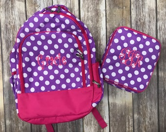Purple and Pink Polka Dot Book bag & Lunch Box COMBO-includes Monogram-School Bag-Diaper Bag
