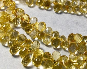 SALE 20% Off AAA Citrine Briolette Beads, 7mm 8mm, Sparkling Pristine Natural Gemstone