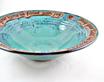 Pottery wedding bowl, Teal blue wedding blessing bowl, Housewarming gift, Handmade ceramic serving bowl - In stock 125 WB