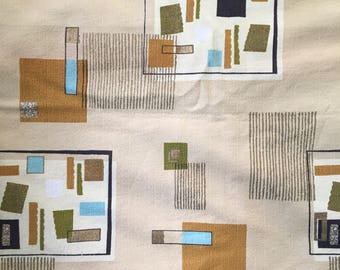 Vintage mid century geometric barkcloth fabric pale yellow olive green gold curtain panels 7 yards
