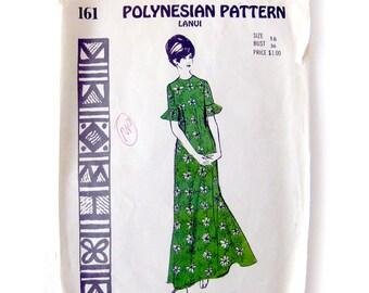 Vintage Sewing Pattern / Polynesian Pattern 161 / Lanui / Maxi-Dress / Tiki Oasis Caftan / Flared Back Skirt