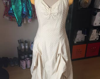 Steampunk sun dress & lace petticoat swiss dot costume cosplay PREOWNED