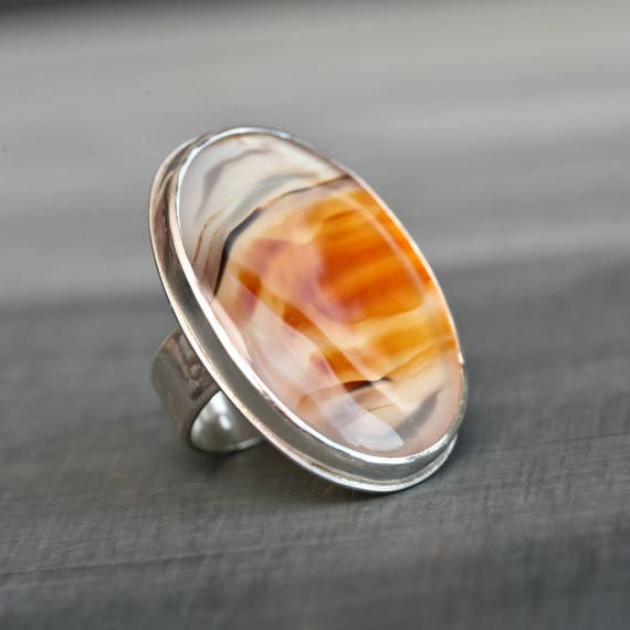 Ablaze - Montana Agate Sterling Silver Statement Ring