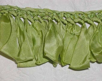 "Gorgeous Spring Green 100% Silk Ribbon Loops Knit Top Trim From Hannah Silk - 31"" Sample From 90s - Never Used"