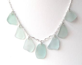 """Soft Blue Sea Glass Multi Necklace on 18"""" Sterling Silver Chain"""