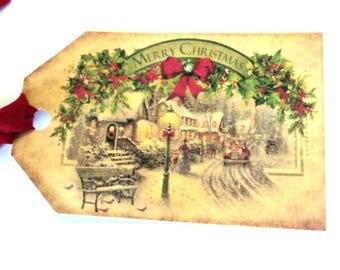 8 Gift Tags, Christmas tags, Vintage Village, Merry Christmas Banner