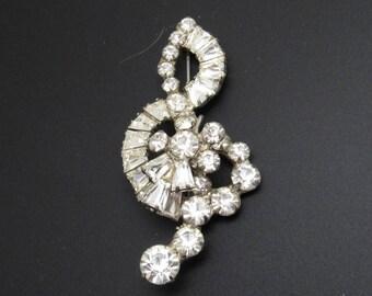 Rhinestone Treble Clef Vintage Jewelry Music Themed P8057