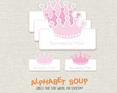 "22 personalized princess crown die cut stickers | big 2-1/4"" wide dishwasher safe labels 