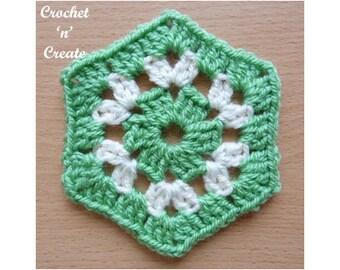 Crochet Granny Hexagon Crochet Pattern (DOWNLOAD) CNC104