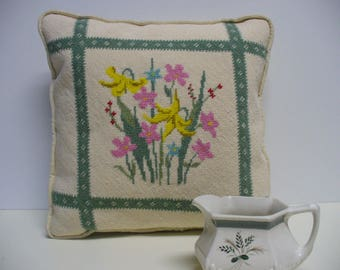 Vintage Needlepoint Pillow - 1987