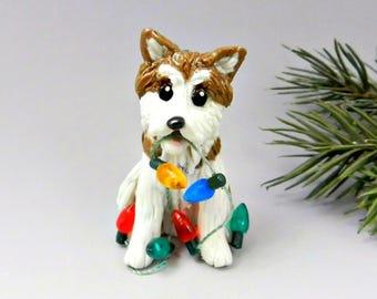 Akita Japanese Dog Christmas Ornament Figurine Lights Porcelain Clay