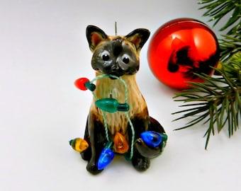 Siamese Burmese Cat Christmas Ornament Figurine Lights Porcelain