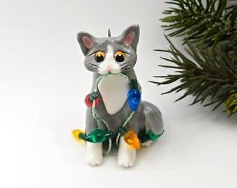 Cat Gray White Christmas Ornament Figurine Lights Porcelain