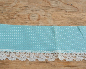 Turquoise Dotted Swiss Trim  - 2 yards Vintage Fabric Lace Swiss Dot
