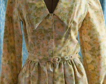 Vintage Dress - 60s Floral Big Collar