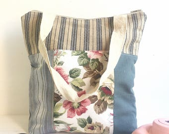 Multipurpose shoulder bag made with antique French floral