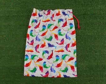 Rainbow dolphins medium drawstring bag, kids colourful cotton drawstring bag, gift bag