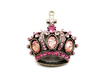 Gothic Lolita Crystal Crown Pendant - 1 Piece in Antiqued Brass with Pink Czech Glass Rhinestones - Neo Victorian, Baroque, Medieval, EGL