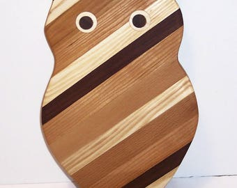 Big OWL  Cutting Board Handcrafted from Mixed Hardwoods