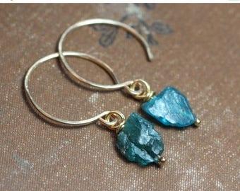 SALE Apatite Gold Hoop Earrings Teal Blue Gemstone Earrings Rough Nugget Turquoise Blue Earrings 14k Gold Filled Hoop Rustic Jewelry