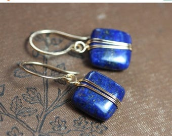 SALE Lapis Earrings Gold Wire Wrapped Blue Gemstone Earrings Gold and Blue Earrings