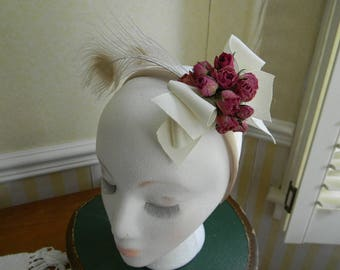 Red Roses and Feather Fascinator Head Band