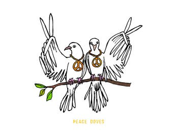 Peace Doves - Holiday, humorous, whimsical, pen and ink, digital, funny, humor