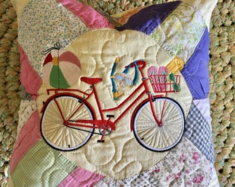 Vintage Quilted Pillow . . . Off to the Beach BICYCLE . . . Embroidered Design . . . Vintage Recycled Quilt Block