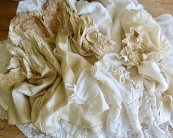 Antique Shabby Chic French Silk Baby Jackets And Bonnet