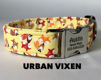 "Fox Dog Collar ""Urban Vixen"" Personalized Pet ID on Buckle Adjustable Collar You Pick Size Small Medium Large Extra Large Funky Mutt Collars"