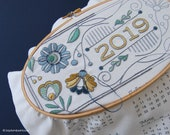 Embroidery Kit 2019 Calendar embroidery kit with matching floss and instructions, DIY Fabric Calendar Panel 2019 calendar