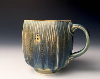 Square Mug - Blue and Soft Yellow