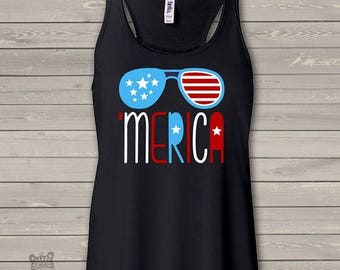 SALE - ships in time 4th America summertime stars and stripes- 'merica womens flowy tank top- perfect for July 4th festivities - SFJ-002v