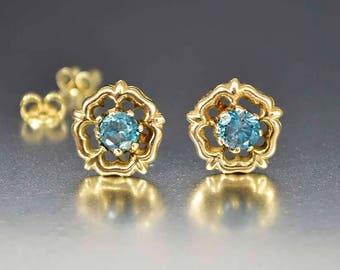 Antique 12K Gold Stud Aquamarine Earrings, Edwardian Gold Stud Earrings, Natural Blue Aquamarine Studs, Flower Studs, Aquamarine Stone