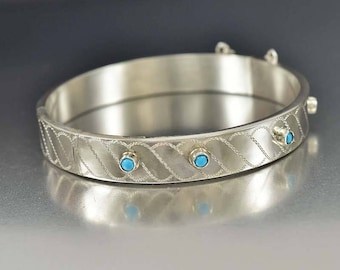 Sterling Silver Turquoise Bracelet | Engraved Victorian Revival Bangle Bracelet | English Silver Bracelet | Blue Persian Turquoise Cuff